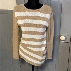 Katherine Barclay Striped Asymetical Hem Sweater